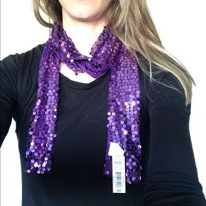 """NWT Purple Sequin Scarf 68""""Long 5.5"""" Wide"""